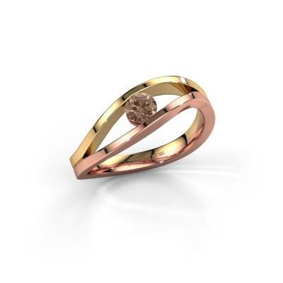 Foto van Ring Sigrid 1 585 rosé goud bruine diamant 0.25 crt