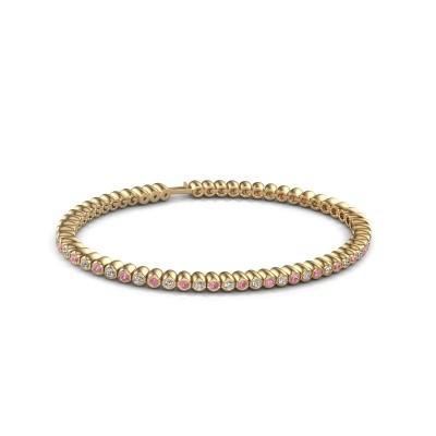 Foto van Tennisarmband Trix 375 goud roze saffier 2 mm
