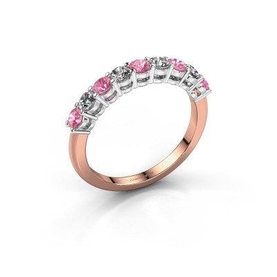 Foto van Belofte ring Michelle 9 585 rosé goud roze saffier 2.7 mm