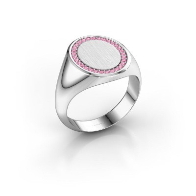 Men's ring Floris Oval 4 375 white gold pink sapphire 1.2 mm