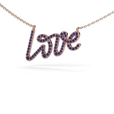 Hanger Love 375 rosé goud saffier 1 mm