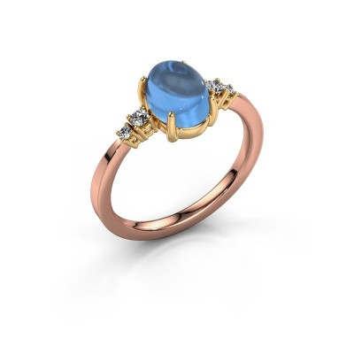Ring Jelke 585 rose gold blue topaz 8x6 mm