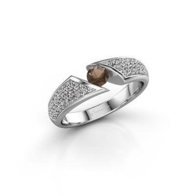 Foto van Ring Hojalien 3 925 zilver rookkwarts 4 mm
