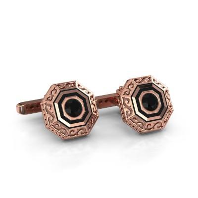 Foto van Manchetknopen Dion 375 rosé goud zwarte diamant 1.20 crt