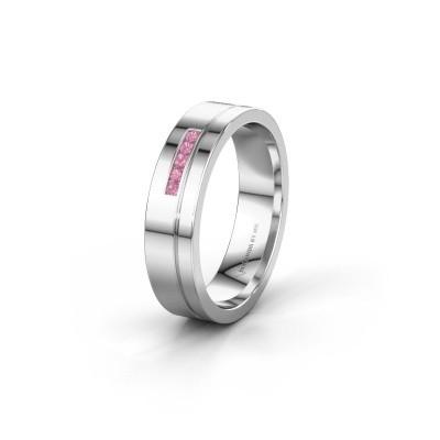 Trouwring WH0307L15AP 950 platina roze saffier ±5x1.7 mm