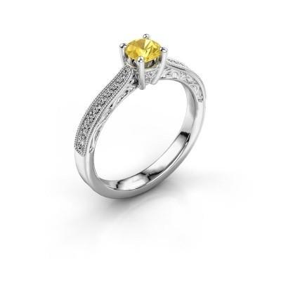 Belofte ring Shonta RND 585 witgoud gele saffier 4.7 mm