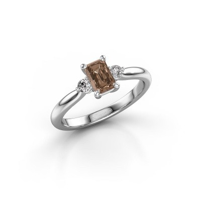 Verlovingsring Lieselot EME 950 platina bruine diamant 0.76 crt