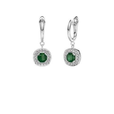 Foto van Oorhangers Marlotte 1 585 witgoud smaragd 5 mm