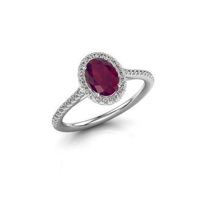Engagement ring Seline 2 585 white gold rhodolite 7x5 mm