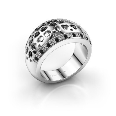 Ring Tirza 585 witgoud zwarte diamant 0.376 crt