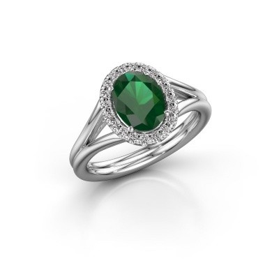 Picture of Engagement ring Verla ovl 1 585 white gold emerald 8x6 mm