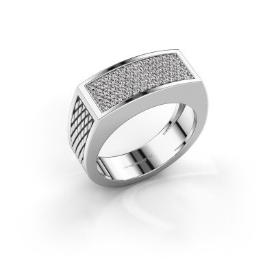Heren ring Erwin 375 witgoud zirkonia 1.2 mm