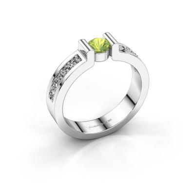 Engagement ring Isabel 2 925 silver peridot 4 mm
