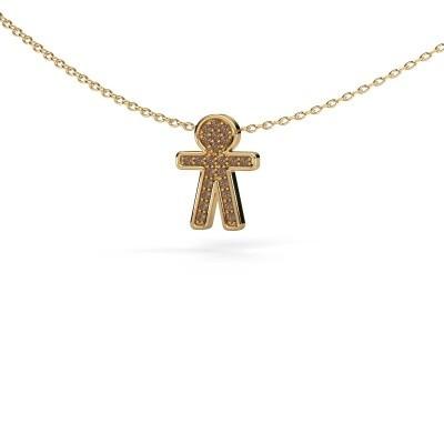 Hanger Boy 375 goud bruine diamant 0.115 crt