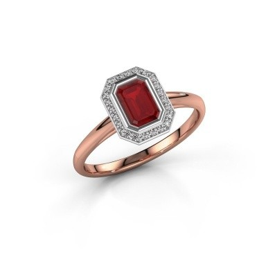 Verlovingsring Noud 1 EME 585 rosé goud robijn 6x4 mm