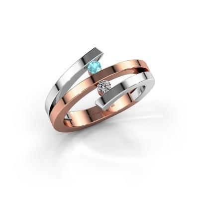 Foto van Ring Synthia 585 rosé goud blauw topaas 2.5 mm