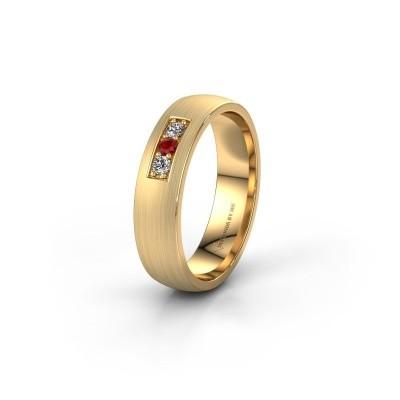 Trouwring WH0110L25AM 585 goud robijn ±5x1.7 mm