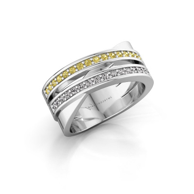 Ring Margje 585 white gold yellow sapphire 1.3 mm