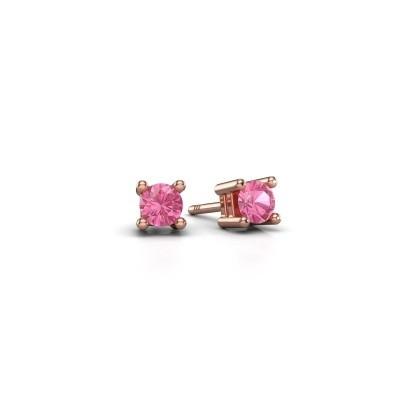 Oorknopjes Eline 375 rosé goud roze saffier 4 mm