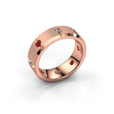 Men's ring Irwin 375 rose gold ruby 2.7 mm