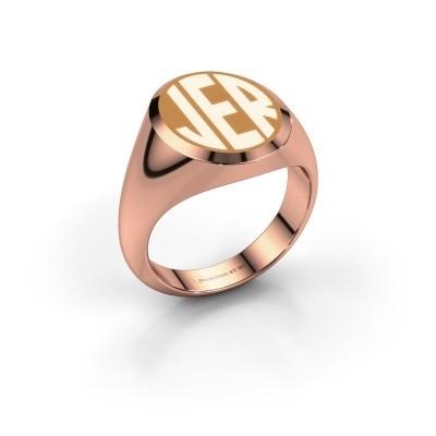 Foto van Monogram ring Paul emaille 375 rosé goud