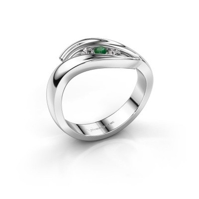 Foto van Ring Erin 585 witgoud smaragd 2.4 mm