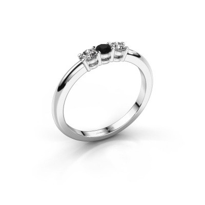 Foto van Verlovingsring Michelle 3 585 witgoud zwarte diamant 0.32 crt