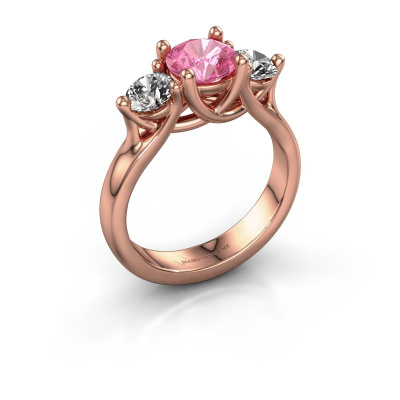 Engagement ring Esila 585 rose gold pink sapphire 6.5 mm