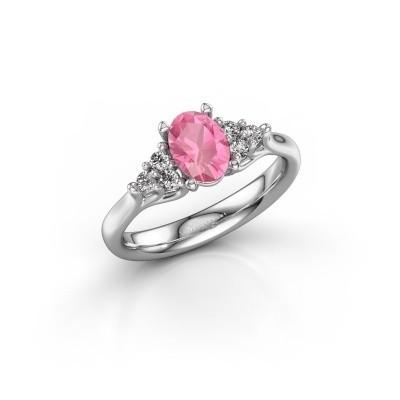Foto van Verlovingsring Monika OVL 585 witgoud roze saffier 7x5 mm