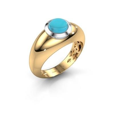 Ring Sharika 585 goud blauw topaas 6 mm