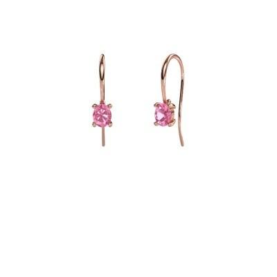 Oorhangers Cleo 375 rosé goud roze saffier 6x4 mm