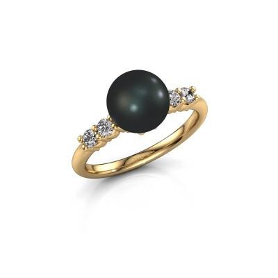 Foto van Ring Cecile 375 goud zwarte parel 8 mm