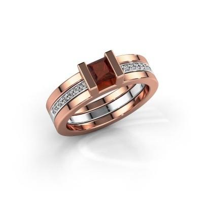Foto van Ring Desire 585 rosé goud granaat 4 mm