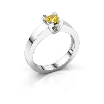 Promise ring Anne 1 585 witgoud gele saffier 4.7 mm