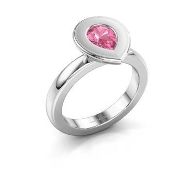 Stapelring Eloise Pear 585 witgoud roze saffier 7x5 mm