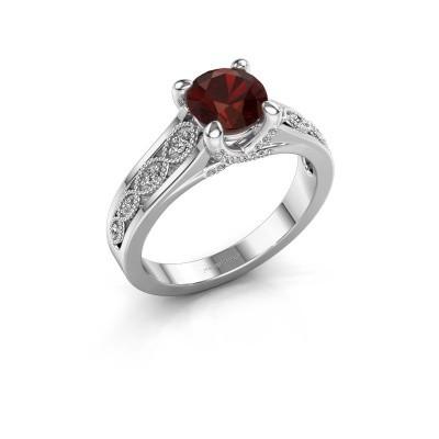 Engagement ring Clarine 585 white gold garnet 6.5 mm