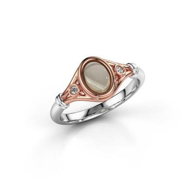 Ring Scarlett 585 rosé goud rookkwarts 7x5 mm