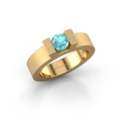 Foto van Ring Leena 1 375 goud blauw topaas 5 mm