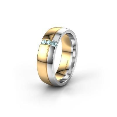 Trouwring WH0223L56A 585 goud aquamarijn ±6x1.7 mm