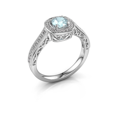 Verlovings ring Candi 585 witgoud aquamarijn 5 mm