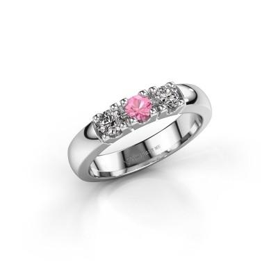 Foto van Verlovingsring Rianne 3 585 witgoud roze saffier 3.4 mm