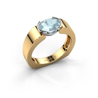 Ring Tonya 585 goud aquamarijn 8x6 mm