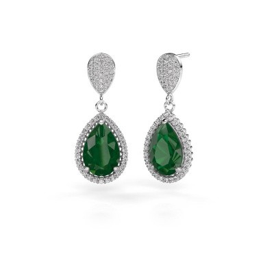 Oorhangers Tilly per 2 950 platina smaragd 12x8 mm