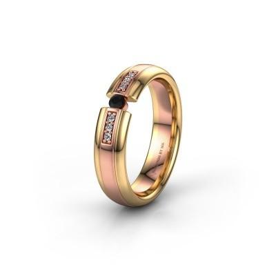 Trouwring WH2128L26C 585 rosé goud zwarte diamant ±5x2 mm