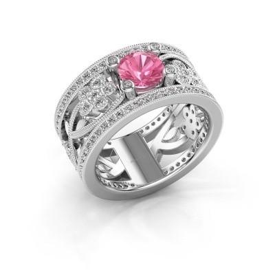 Foto van Ring Severine 585 witgoud roze saffier 6 mm