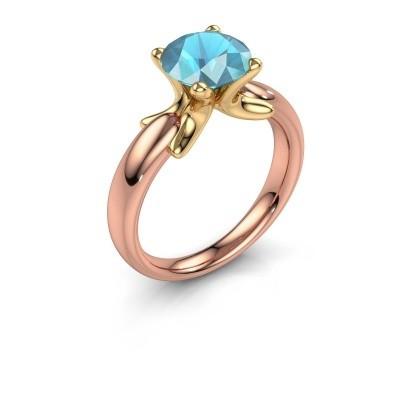 Foto van Ring Jodie 585 rosé goud blauw topaas 8 mm