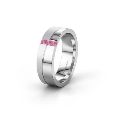 Trouwring WH0906L16A 950 platina roze saffier ±6x1.7 mm