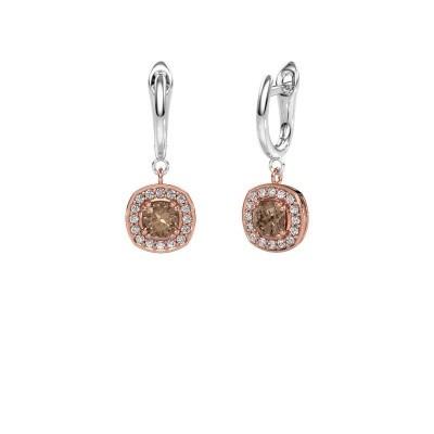 Drop earrings Marlotte 1 585 rose gold brown diamond 0.50 crt