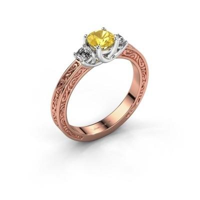 Verlovingsring Betty 1 585 rosé goud gele saffier 5 mm