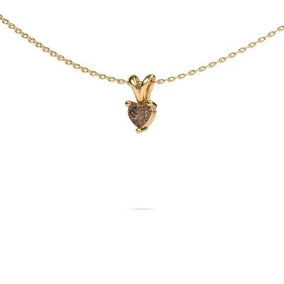 Foto van Ketting Garnet 585 goud bruine diamant 0.25 crt